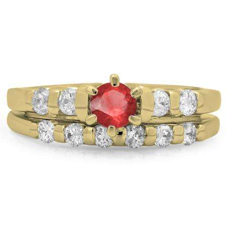 1.00 Carat (ctw) 10K Yellow Gold Round Cut Red Ruby & White Diamond Ladies Bridal Solitaire With Accents Engagement Ring Matching Band Set 1 CT