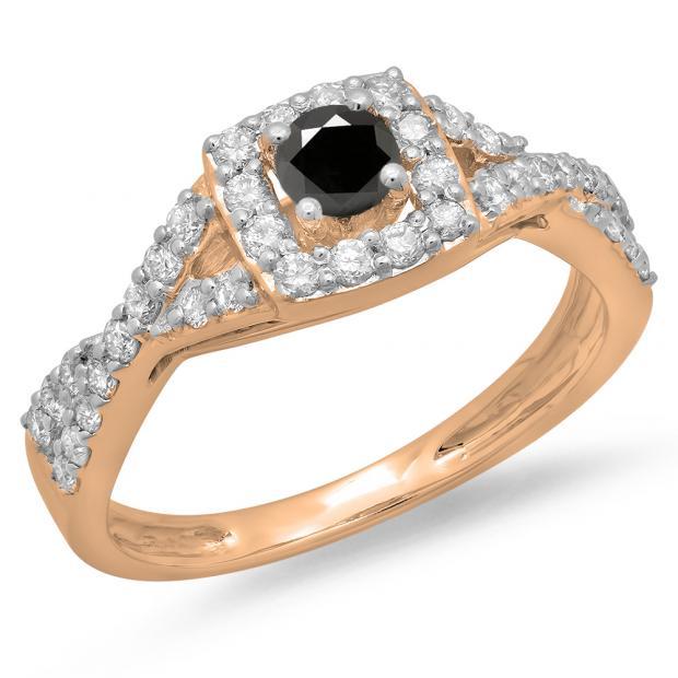 0.75 Carat (ctw) 14K Rose Gold Round Cut Black & White Diamond Ladies Bridal Swirl Split Shank Halo Engagement Ring 3/4 CT