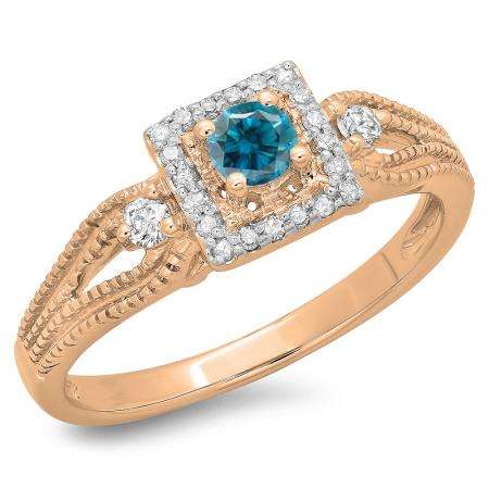 0.40 Carat (ctw) 14K Rose Gold Round Cut Blue & White Diamond Ladies Bridal Vintage Halo Style Engagement Ring