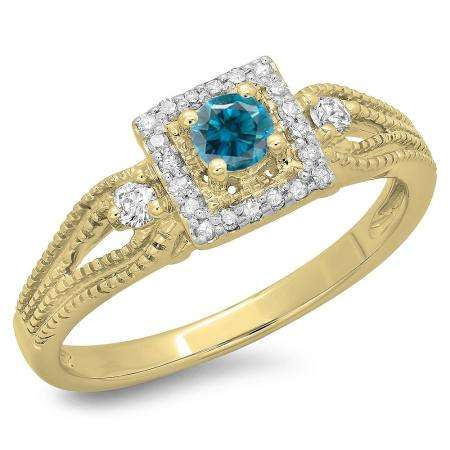 0.40 Carat (ctw) 14K Yellow Gold Round Cut Blue & White Diamond Ladies Bridal Vintage Halo Style Engagement Ring