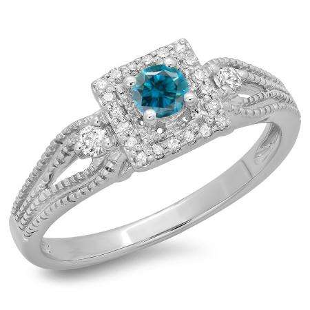 0.40 Carat (ctw) 18K White Gold Round Cut Blue & White Diamond Ladies Bridal Vintage Halo Style Engagement Ring