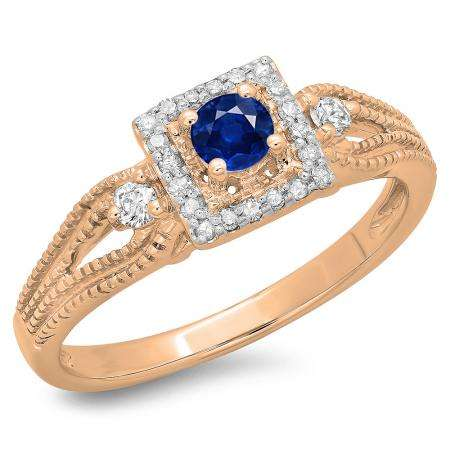 0.40 Carat (ctw) 14K Rose Gold Round Cut Blue Sapphire & White Diamond Ladies Bridal Vintage Halo Style Engagement Ring