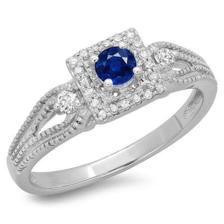 0.40 Carat (ctw) 18K White Gold Round Cut Blue Sapphire & White Diamond Ladies Bridal Vintage Halo Style Engagement Ring