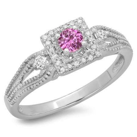 0.40 Carat (ctw) 14K White Gold Round Cut Pink Sapphire & White Diamond Ladies Bridal Vintage Halo Style Engagement Ring
