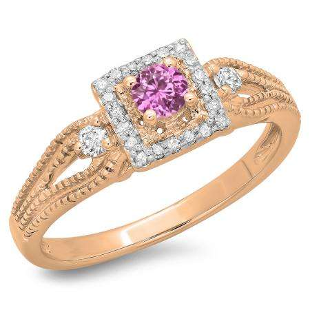 0.40 Carat (ctw) 18K Rose Gold Round Cut Pink Sapphire & White Diamond Ladies Bridal Vintage Halo Style Engagement Ring