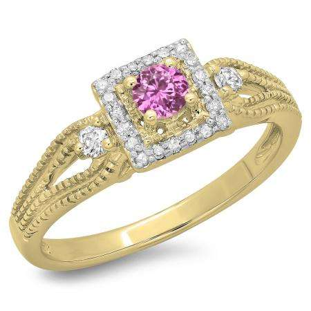 0.40 Carat (ctw) 18K Yellow Gold Round Cut Pink Sapphire & White Diamond Ladies Bridal Vintage Halo Style Engagement Ring