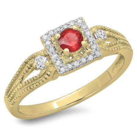 0.40 Carat (ctw) 10K Yellow Gold Round Cut Red Ruby & White Diamond Ladies Bridal Vintage Halo Style Engagement Ring