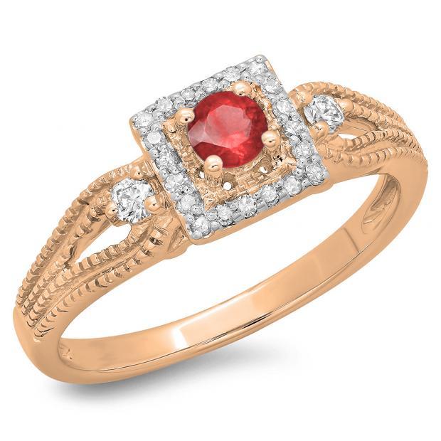 0.40 Carat (ctw) 14K Rose Gold Round Cut Red Ruby & White Diamond Ladies Bridal Vintage Halo Style Engagement Ring