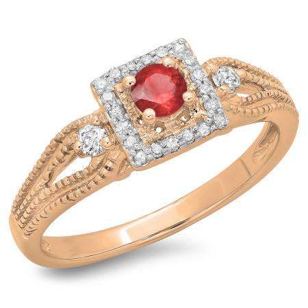 0.40 Carat (ctw) 18K Rose Gold Round Cut Red Ruby & White Diamond Ladies Bridal Vintage Halo Style Engagement Ring
