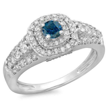 1.00 Carat (ctw) 14K White Gold Round Cut Blue & White Diamond Ladies Vintage Style Bridal Halo Engagement Ring 1 CT