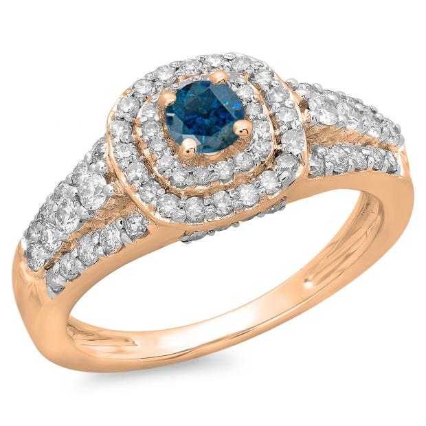 1.00 Carat (ctw) 18K Rose Gold Round Cut Blue & White Diamond Ladies Vintage Style Bridal Halo Engagement Ring 1 CT