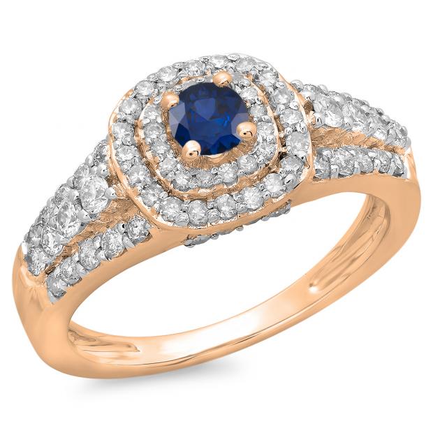 1.00 Carat (ctw) 14K Rose Gold Round Cut Blue Sapphire & White Diamond Ladies Vintage Style Bridal Halo Engagement Ring 1 CT
