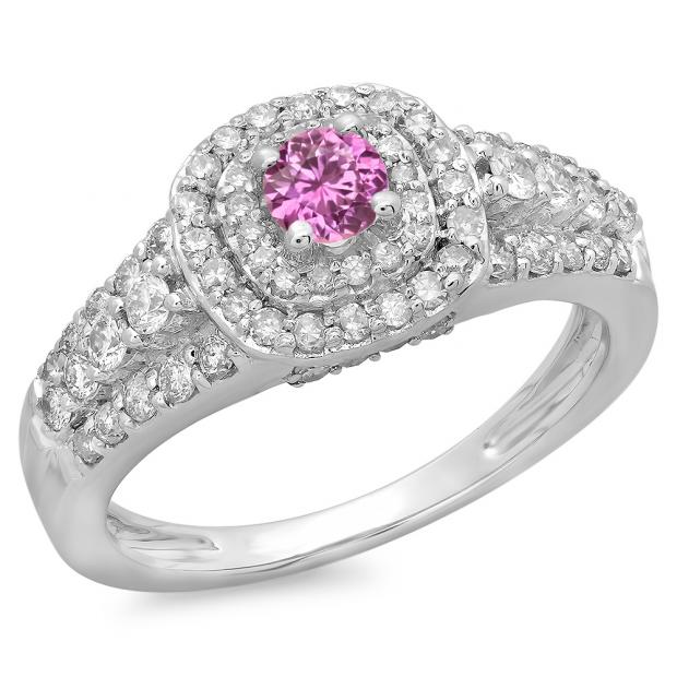 1.00 Carat (ctw) 10K White Gold Round Cut Pink Sapphire & White Diamond Ladies Vintage Style Bridal Halo Engagement Ring 1 CT
