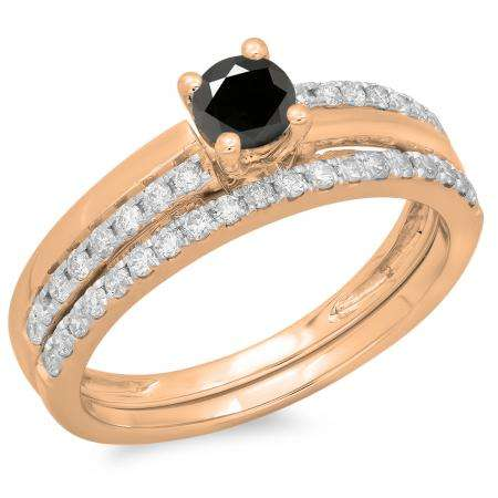 0.75 Carat (ctw) 10K Rose Gold Round Cut Black & White Diamond Ladies Bridal Engagement Ring With Matching Band Set 3/4 CT