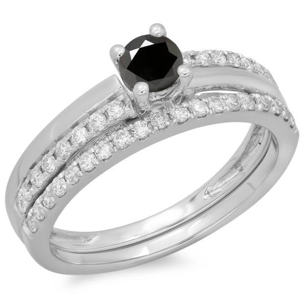 0.75 Carat (ctw) 10K White Gold Round Cut Black & White Diamond Ladies Bridal Engagement Ring With Matching Band Set 3/4 CT