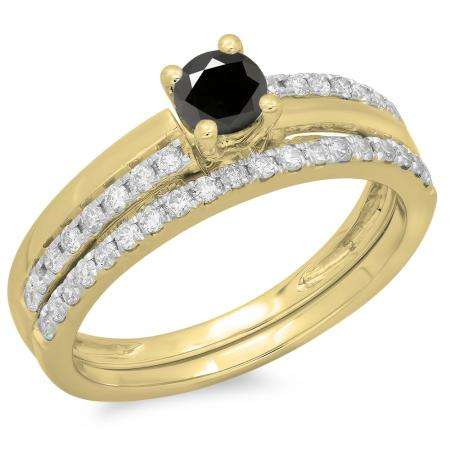0.75 Carat (ctw) 10K Yellow Gold Round Cut Black & White Diamond Ladies Bridal Engagement Ring With Matching Band Set 3/4 CT