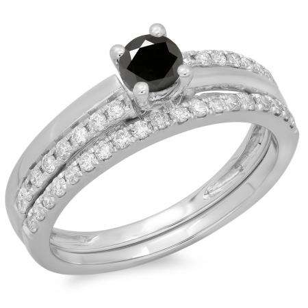 0.75 Carat (ctw) 18K White Gold Round Cut Black & White Diamond Ladies Bridal Engagement Ring With Matching Band Set 3/4 CT