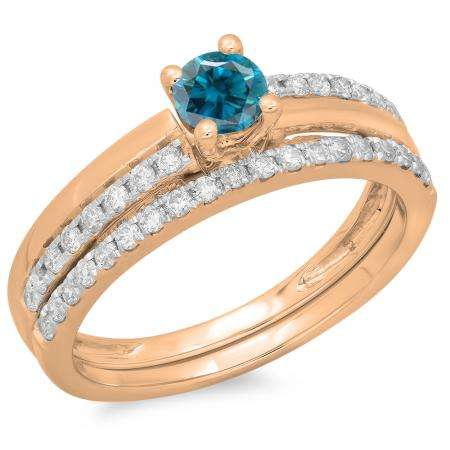 0.75 Carat (ctw) 10K Rose Gold Round Cut Blue & White Diamond Ladies Bridal Engagement Ring With Matching Band Set 3/4 CT