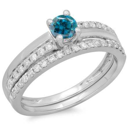 0.75 Carat (ctw) 14K White Gold Round Cut Blue & White Diamond Ladies Bridal Engagement Ring With Matching Band Set 3/4 CT