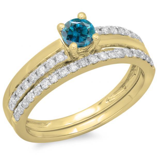 0.75 Carat (ctw) 18K Yellow Gold Round Cut Blue & White Diamond Ladies Bridal Engagement Ring With Matching Band Set 3/4 CT