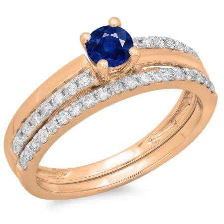0.75 Carat (ctw) 10K Rose Gold Round Cut Blue Sapphire & White Diamond Ladies Bridal Engagement Ring With Matching Band Set 3/4 CT