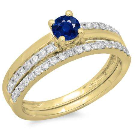 0.75 Carat (ctw) 10K Yellow Gold Round Cut Blue Sapphire & White Diamond Ladies Bridal Engagement Ring With Matching Band Set 3/4 CT