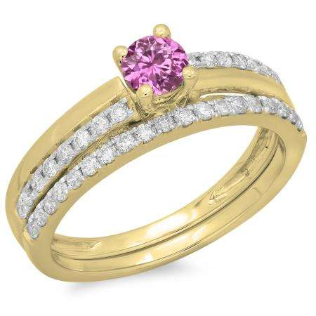 0.75 Carat (ctw) 14K Yellow Gold Round Cut Pink Sapphire & White Diamond Ladies Bridal Engagement Ring With Matching Band Set 3/4 CT