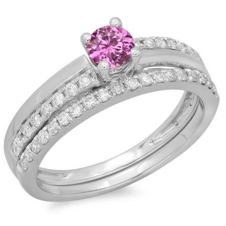 0.75 Carat (ctw) 18K White Gold Round Cut Pink Sapphire & White Diamond Ladies Bridal Engagement Ring With Matching Band Set 3/4 CT