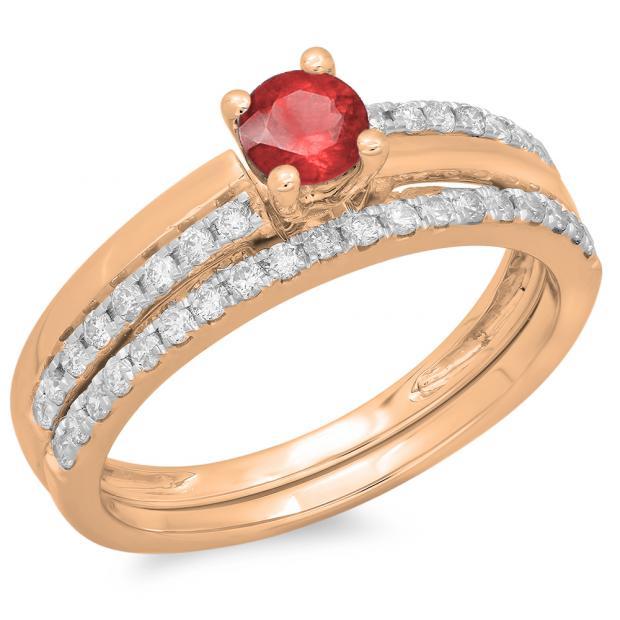 0.75 Carat (ctw) 10K Rose Gold Round Cut Red Ruby & White Diamond Ladies Bridal Engagement Ring With Matching Band Set 3/4 CT