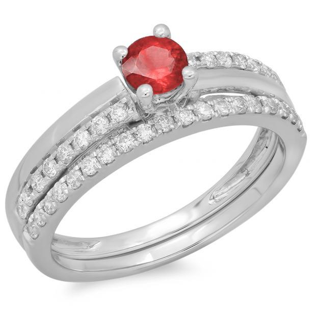 0.75 Carat (ctw) 10K White Gold Round Cut Red Ruby & White Diamond Ladies Bridal Engagement Ring With Matching Band Set 3/4 CT