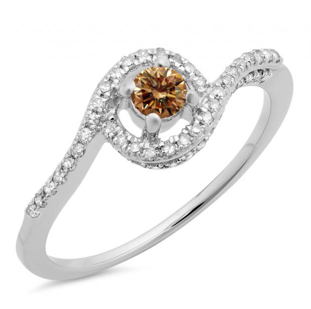 0.50 Carat (ctw) 10K White Gold Round Cut White & Champagne Diamond Ladies Twisted Swirl Bridal Halo Engagement Ring 1/2 CT