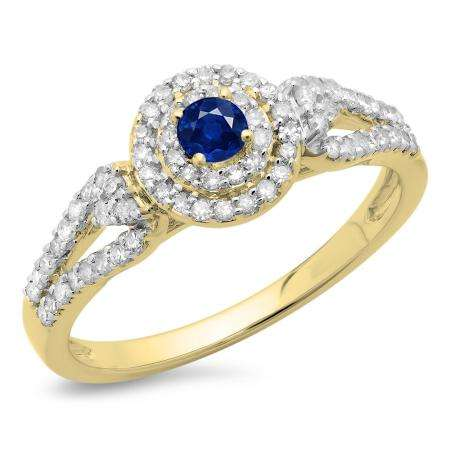 0.60 Carat (ctw) 10K Yellow Gold Round Cut Blue Sapphire & White Diamond Ladies Split Shank Vintage Style Bridal Halo Engagement Ring