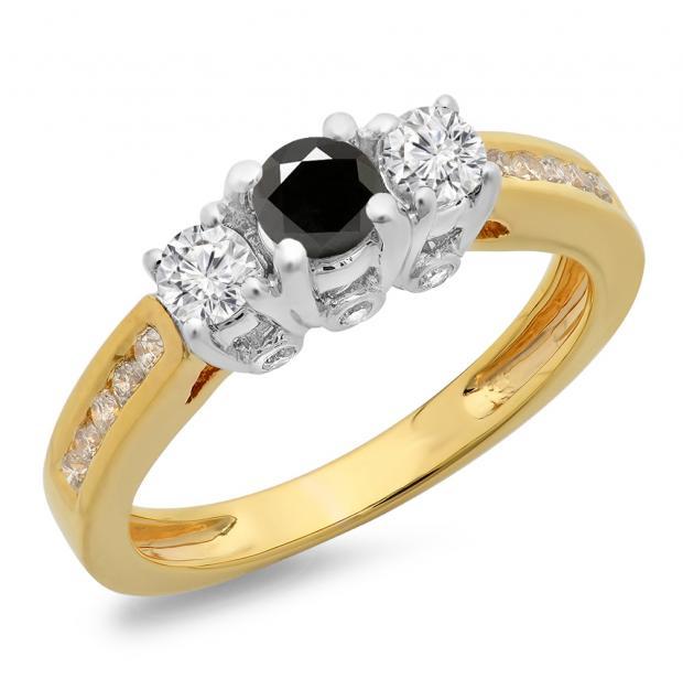 1.00 Carat (ctw) 10K Two Tone Gold Round Cut White & Black Diamond Ladies 3 Stone Bridal Engagement Ring 1 CT