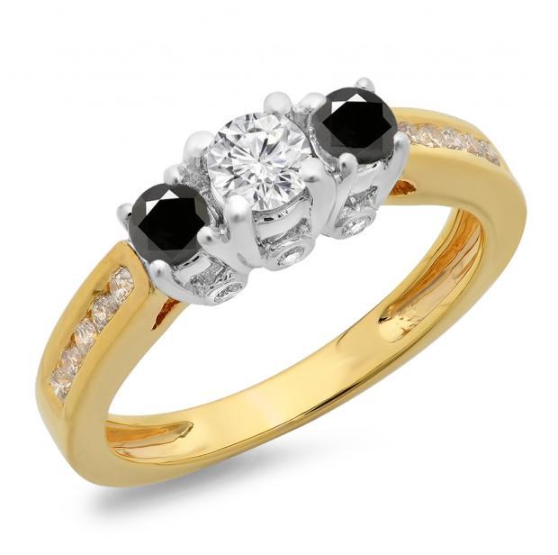 1.00 Carat (ctw) 14K Two Tone Gold Round Cut White & Black Diamond Ladies 3 Stone Bridal Engagement Ring 1 CT
