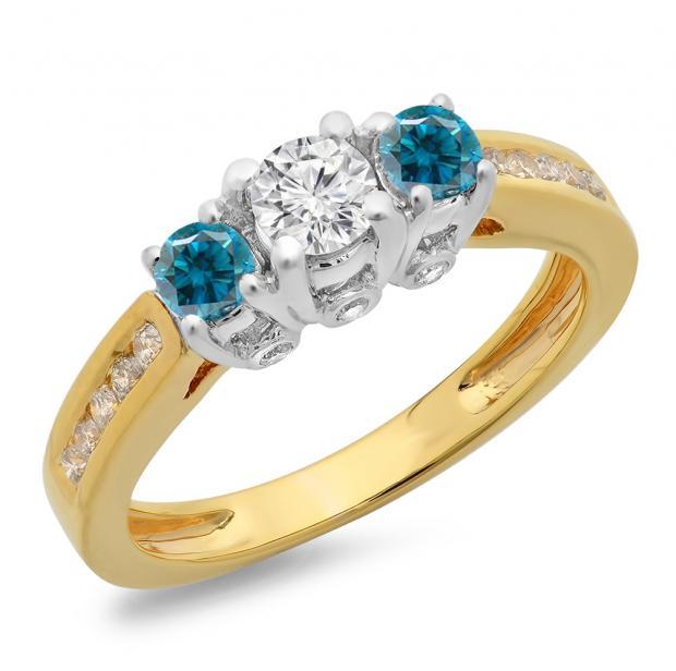 1.00 Carat (ctw) 10K Two Tone Gold Round Cut White & Blue Diamond Ladies 3 Stone Bridal Engagement Ring 1 CT