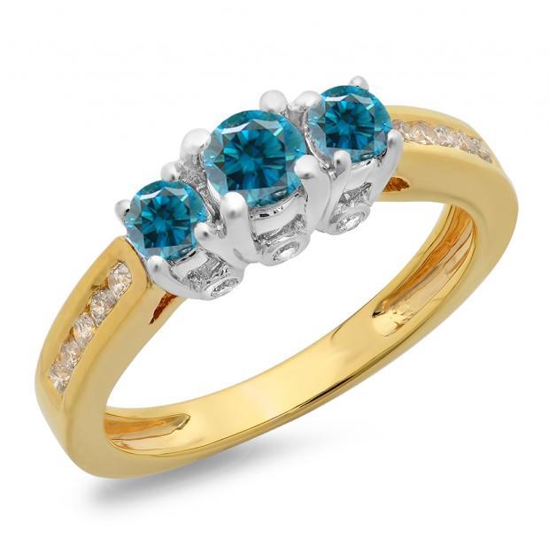 1.00 Carat (ctw) 14K Two Tone Gold Round Cut White & Blue Diamond Ladies 3 Stone Bridal Engagement Ring 1 CT