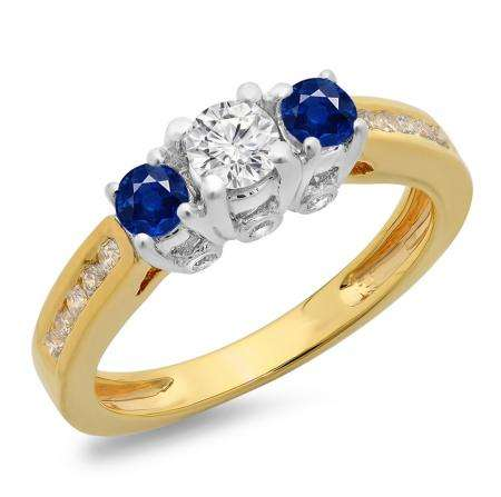 1.00 Carat (ctw) 10K Two Tone Gold Round Cut Blue Sapphire & White Diamond Ladies 3 Stone Bridal Engagement Ring 1 CT