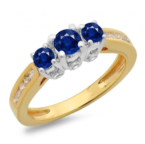 1.00 Carat (ctw) 18K Two Tone Gold Round Cut Blue Sapphire & White Diamond Ladies 3 Stone Bridal Engagement Ring 1 CT