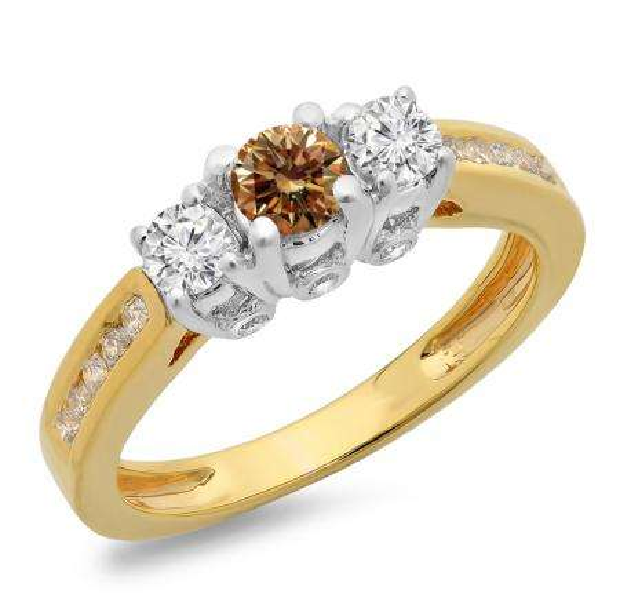 1.00 Carat (ctw) 10K Two Tone Gold Round Cut White & Champagne Diamond Ladies 3 Stone Bridal Engagement Ring 1 CT