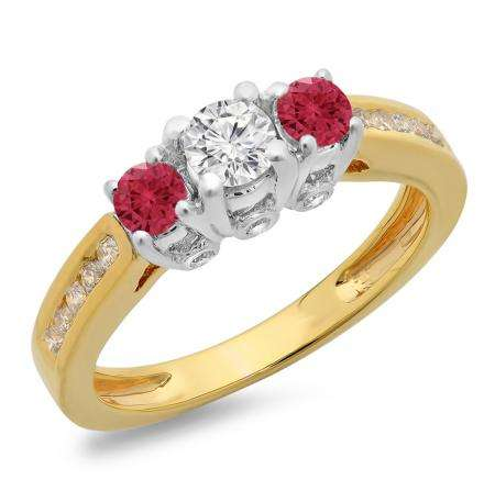 1.00 Carat (ctw) 10K Two Tone Gold Round Cut Red Ruby & White Diamond Ladies 3 Stone Bridal Engagement Ring 1 CT