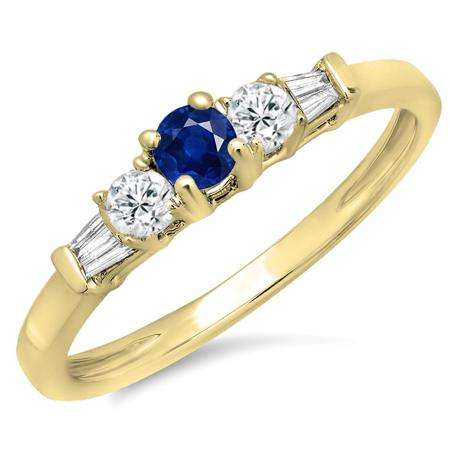 0.45 Carat (ctw) 10K Yellow Gold Round & Baguette Cut Blue Sapphire & White Diamond Ladies 3 Stone Engagement Bridal Ring