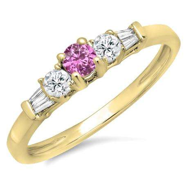 0.45 Carat (ctw) 10K Yellow Gold Round & Baguette Cut Pink Sapphire & White Diamond Ladies 3 Stone Engagement Bridal Ring