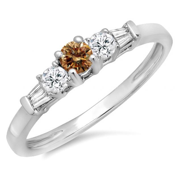 0.45 Carat (ctw) 10K White Gold Round & Baguette Cut Champagne & White Diamond Ladies 3 Stone Engagement Bridal Ring