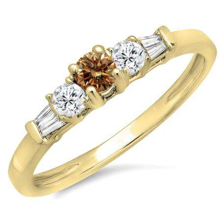 0.45 Carat (ctw) 10K Yellow Gold Round & Baguette Cut Champagne & White Diamond Ladies 3 Stone Engagement Bridal Ring