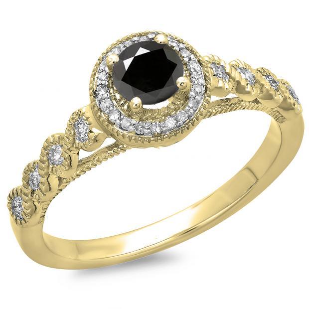0.55 Carat (ctw) 10K Yellow Gold Round Cut White & Black Diamond Ladies Bridal Vintage & Antique Millgrain Halo Style Engagement Ring 1/2 CT
