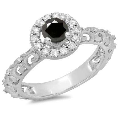 0.80 Carat (ctw) 10K White Gold Round Cut Black & White Diamond Ladies Bridal Vintage Halo Style Engagement Ring 3/4 CT