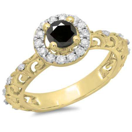 0.80 Carat (ctw) 18K Yellow Gold Round Cut Black & White Diamond Ladies Bridal Vintage Halo Style Engagement Ring 3/4 CT
