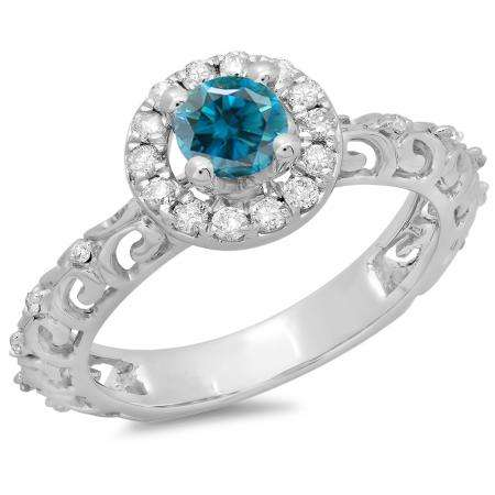 0.80 Carat (ctw) 10K White Gold Round Cut Blue & White Diamond Ladies Bridal Vintage Halo Style Engagement Ring 3/4 CT