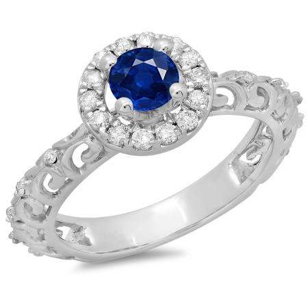 0.80 Carat (ctw) 14K White Gold Round Cut Blue Sapphire & White Diamond Ladies Bridal Vintage Halo Style Engagement Ring 3/4 CT