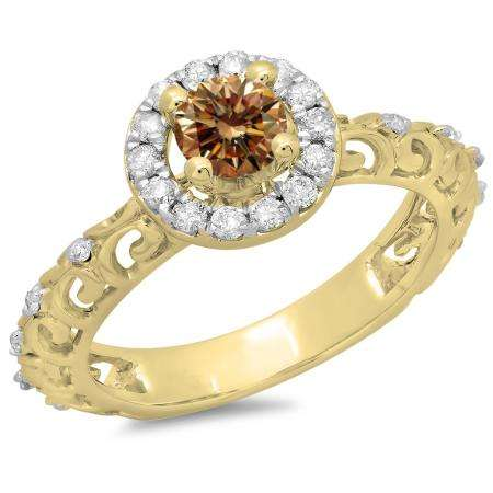 0.80 Carat (ctw) 18K Yellow Gold Round Cut Champagne & White Diamond Ladies Bridal Vintage Halo Style Engagement Ring 3/4 CT